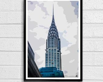 Chrysler Building Pop Art Print New York City Poster NYC Landmark American United States Landmark Fine Art Travel Home Decor Canvas