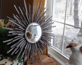 Indigo Grey Industrial Wood Starburst Mirror READY TO SHIP