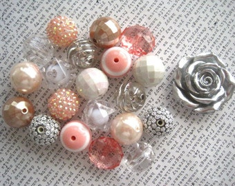 Necklace Kit, Pale Peach, White and Silver Beads, Metallic Beads, Gumball Bead Kit, Necklace Kit, DIY Necklaces, All Hardware Included