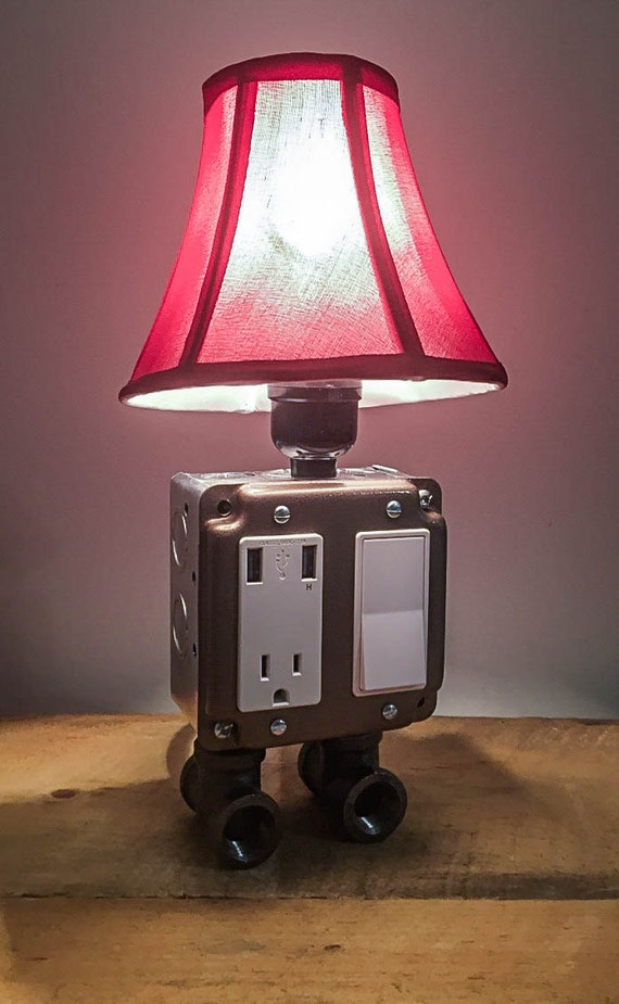 Hammered Bronze Industrial Lamp Usb Charging Station