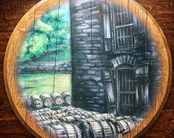 DEFECT DISCOUNT: Woodford Reserve Distillery barrel head print; man cave, bourbon art print, barware, wedding hostess, whiskey, kentucky