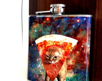 Pizza Cat funny hip flask