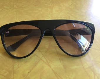 Vintage YSL black angular sunglasses