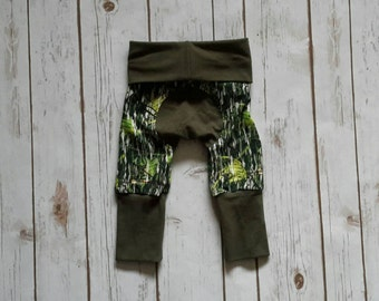 Miniloones Grow With Me Pants Olive Camo Baby Pants
