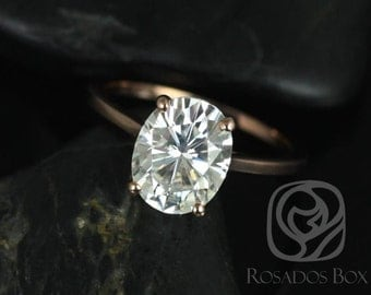 Rosados Box Bailey 10x8mm 14kt Rose Gold Oval F1-  Moissanite Thin Skinny Engagement Ring