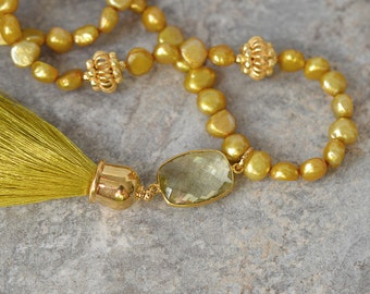 Natural lemon topaz and chartreuse silk tassel necklace Sophisticated yellow green pearl necklace Gemstone tassel pendant