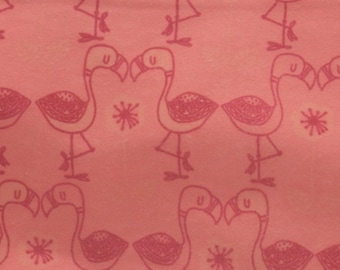 Coral Flamingos Cotton Flannel Fabric, Pink Flamingo Fabric, by the half yard
