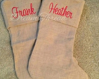 Monogram Burlap Stocking, popular stockings, Christmas, Santa, Christmas gift, wedding, burlap (made to order)