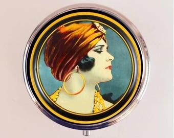 Flapper Turban Pill Box Case Pillbox Holder Trinket Stash Box Art Deco 1920s Jazz Age Roaring 20s