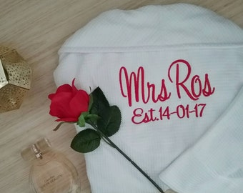 Personalised Robe; Wedding Robes; Personalised Wedding Robe; Bridesmaid Gift; ; Waffle Weave robe; Weddings; bride robe; bridesmaid robes