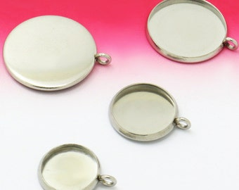 20pcs stainless steel 8mm / 10mm / 12mm / 14mm  / 16mm / 18mm / 20mm  Cameo Base Setting Pendant