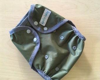 One size PUL cloth diaper cover -olive