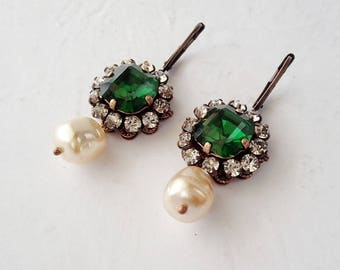 Emerald Duchess Earrings. Emerald Green Rhinestone Earrings with Baroque Pearl Drops.Historically Inspired Costume Drama Crystal Accessories