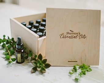 Wood Box for 16 Essential Oils