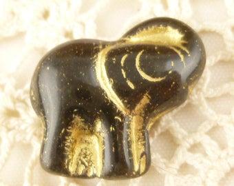 3D Glass Focal Elephant Bead, Black Gold Czech Pressed Glass (4) - P