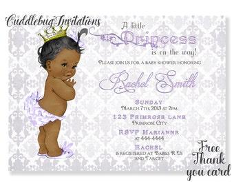 Purple African American Girl Baby Shower Invitation | Royal Princess Baby Girl Shower Invite | Purple Princess Shower Invitation Printable
