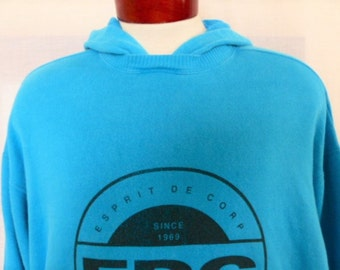 vintage 80's 90's Esprit de Corps EDC teal blue green fleece graphic hoodie sweatshirt black big circle logo print crew neck oversized small