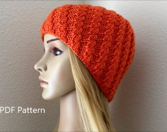 PDF Pattern, How To Knit A Spiral Ribbed Hat