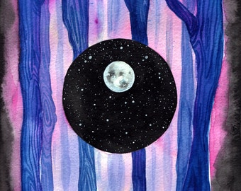 """Dimensions, 6x8"""" Original Watercolor, Ethereal, Moon, Abstract, Nature, Woods, Forest"""