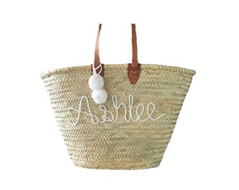 Straw Over the Shoulder bag with Leather Straps, Custom Script Name and Pompom Key-Chain