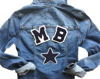 Custom Denim Jacket with Motif Patch and Initials