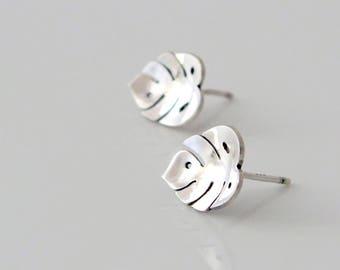 Monstera Earrings - Silver Dainty Stud Earrings - Sterling Silver Stud Earrings - Leaf Earrings - Tropical Earrings - Cheese Plant Earrings