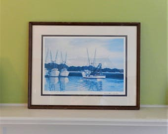 "Vintage Jim Booth ""Trawler Haven""  Signed and numbered under glass - Charleston 1973 RARE Ambassador Graphics early work"