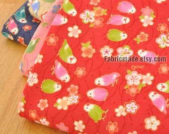 Japanese Cotton Fabric, Gilding Cute Birds Flowers On Pink Navy Red Beige Cotton, Shabby Chic Style - 1/2 Yard