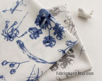 Floral Cotton Fabric, Chinese ink and Wash Flower Blue Grey On Off White Cotton- 1/2 Yard