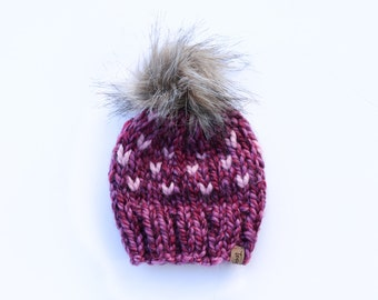 Children Fair Isle Knit Beanie / Chunky Knit Hat / Customizable / Slouchy Beanie / Fur Pom Pom / Cozy / Newborn / Baby / Toddler / Child