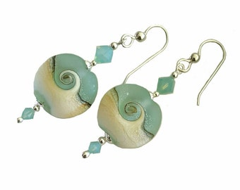 FLASH SALE 50% Beach Wave Lentil lampwork bead earrings, with Opal Swarovski crystals on each side, Sterling Silver beads and ear wires