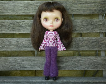 Retro style superkid mohair flared purple knitted trousers for Blythe