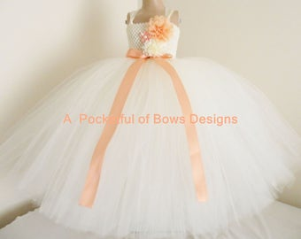 Peach and Ivory Toddler Flower Girl Tutu Dress Ball Gown Style