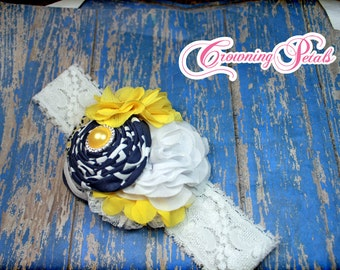 Yellow, Navy Blue Hair Accessory, White, Mustard Yellow, Dark Blue Headband, Hair Clip, Hair Piece, Fabric Flower Hair Accessory, Hairbow