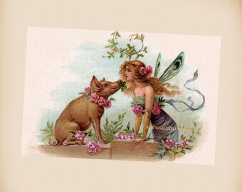 Art Nouveau New Year Fairy With A Pig - New 4x6 Photo Print From A Vintage Postcard FR001