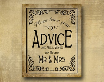 Printed Wedding Advice sign - Please leave your advice and well wishes for the new Mr. & Mrs.  - Vintage Black Tie Design