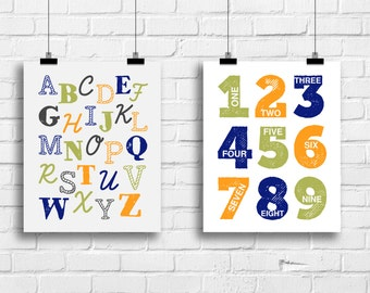 Alphabet Art Print, Numbers Wall Art, Baby Boy Wall Decor, Baby Boy Shower