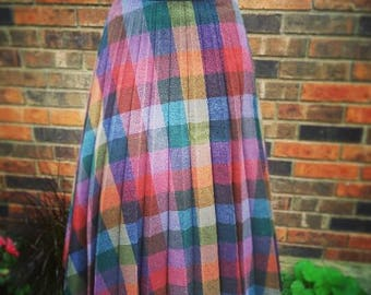 Vintage wool plaid pleated skirt 40s 50s 60s rockabilly pinup
