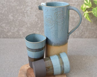 Pottery Pitcher tumblers Set, Pitcher and glasses, mugs, cold drinking set, Turquoise Ceramic bottle, Housewarming gift