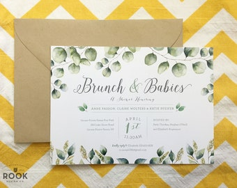 Eucalyptus Shower Invitation, green shower Invitation, Brunch and babies invitation, succulent shower invite, greenery baby invite, DIY
