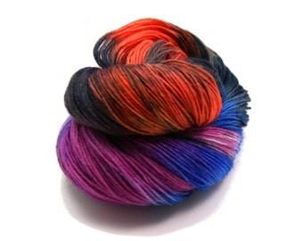 Hand dyed Yarn - Hand painted Sock yarn  - Sock Yarn Fingering -  Orange, Black, Lilac, blue - knitting shawl - hand dyed yarn - OOAK