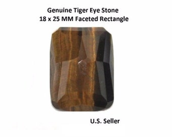 100% Natural Tiger Eye 18 x 25 MM Faceted Rectangle (Pack of 1)