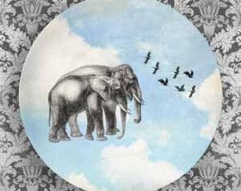 elephant and birds in blue sky melamine plate