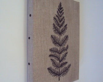 Fern Frond Linen Painting - Botanical Wall Art - Rustic Naturalist Decor - Woodland Fern Art - Plant Silhouette on Stretched Linen Canvas