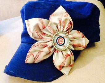 Chicago Cubs cadet hat with baseball-print fabric flower and bottle cap center embellishment
