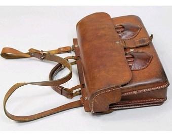 1970s heavy tan leather Messenger Bag 1970s schoolbag
