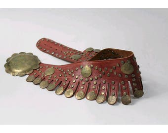 1970 Boho Belt studded Leather and coins