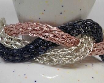 Beautiful tri-finish Viking Knit braided bracelet