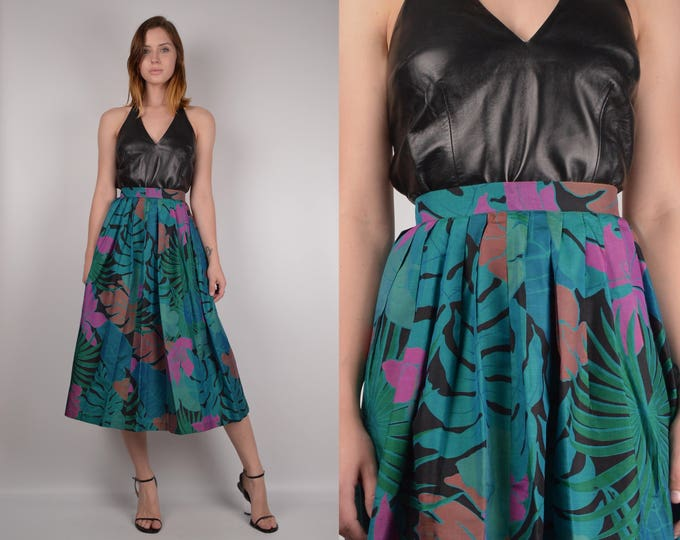 Vintage Tropical Print Circle Skirt w/ High Waist