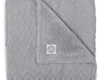 Winter Super Warm Woven Diamond Check Baby Blanket Grey 75 x 100 cm
